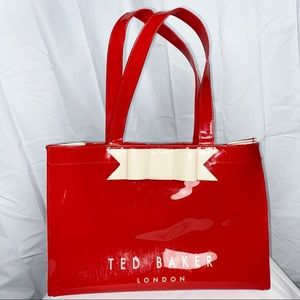 Ted Baker red plastic tote bag bow